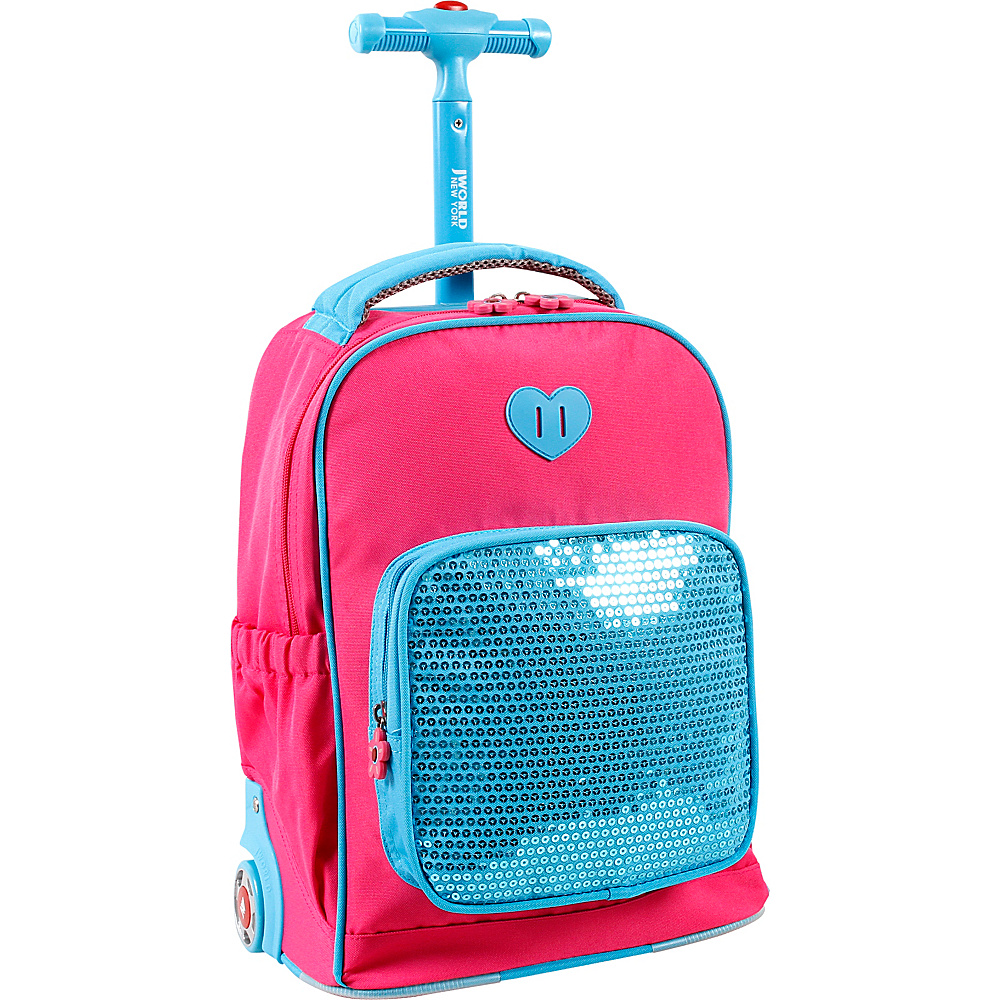 J World New York Sparkle Kids Rolling Backpack Pink - J World New York Rolling Backpacks - Backpacks, Rolling Backpacks