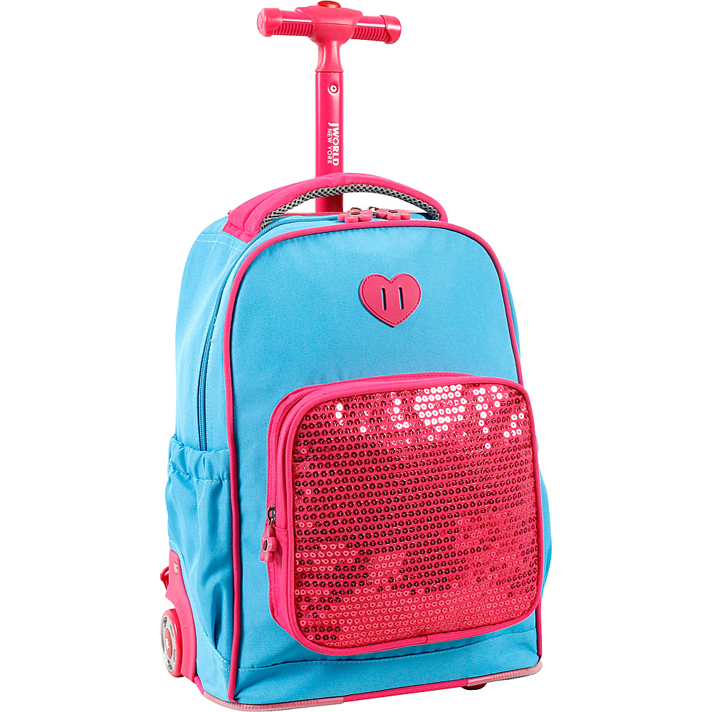 J World New York Sparkle Kids Rolling Backpack Sky Blue - J World New York Rolling Backpacks - Backpacks, Rolling Backpacks