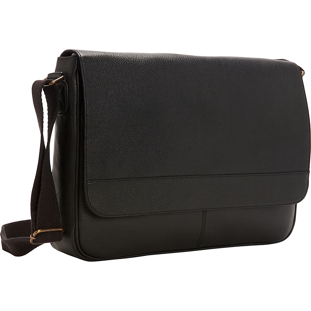 R R Collections Leather Front Flap Laptop Messenger Bag Black R R Collections Messenger Bags