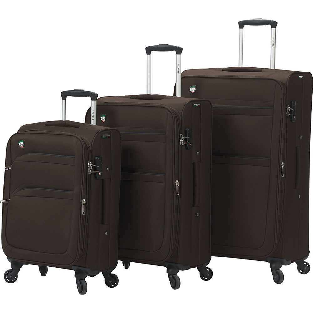 Mia Toro ITALY Alagna Luggage Set Coffee Mia Toro ITALY Luggage Sets