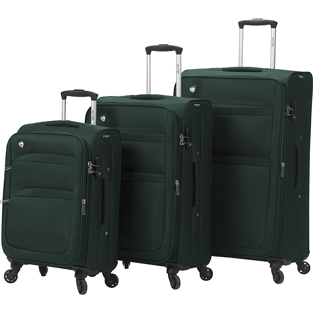 Mia Toro ITALY Alagna Luggage Set Green Mia Toro ITALY Luggage Sets