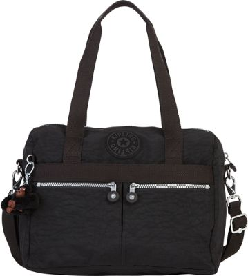 Kipling Klara Satchel Black - Kipling Fabric Handbags