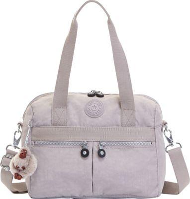 Kipling Klara Satchel Slate Grey - Kipling Fabric Handbags