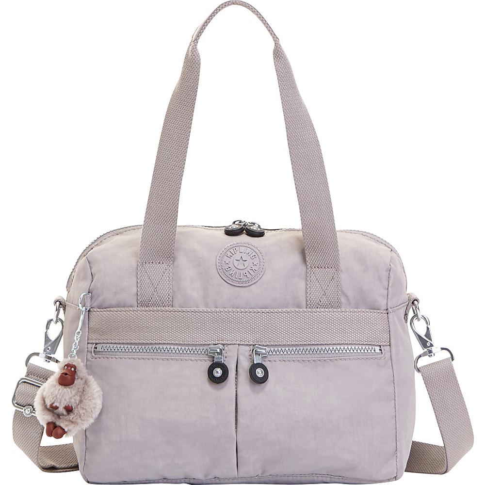 Kipling Klara Satchel Slate Grey Kipling Fabric Handbags