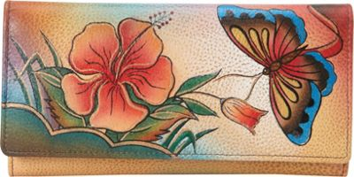 Image of ANNA by Anuschka Hand Painted Checkbook wallet/Clutch Antique Hibiscus - ANNA by Anuschka Ladies Small Wallets