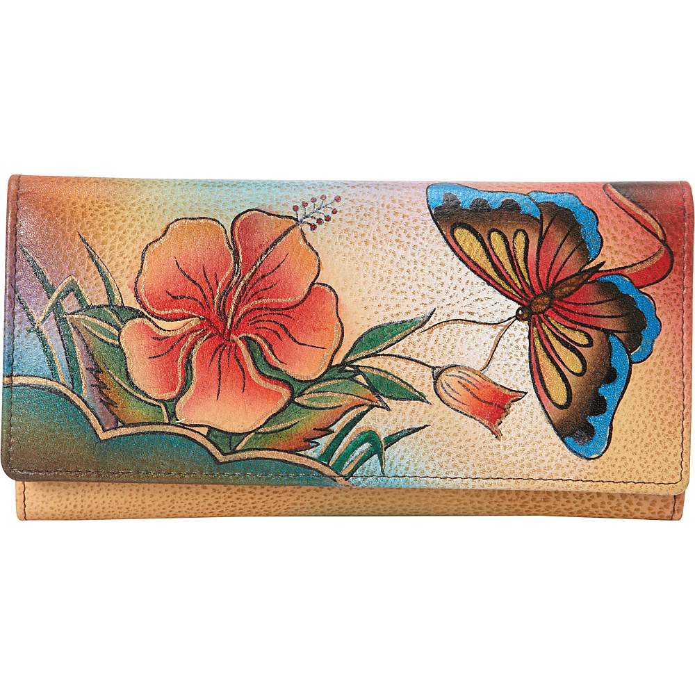 ANNA by Anuschka Hand Painted Checkbook wallet Clutch Antique Hibiscus ANNA by Anuschka Women s Wallets