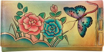 Image of ANNA by Anuschka Hand Painted Checkbook wallet/Clutch Antique Rose - ANNA by Anuschka Ladies Small Wallets