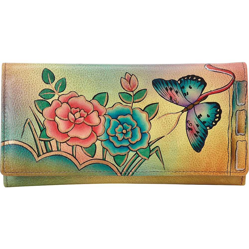 ANNA by Anuschka Hand Painted Checkbook wallet Clutch Antique Rose ANNA by Anuschka Women s Wallets