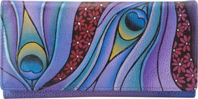 Image of ANNA by Anuschka Hand Painted Checkbook wallet/Clutch Dreamy Peacock - ANNA by Anuschka Ladies Small Wallets