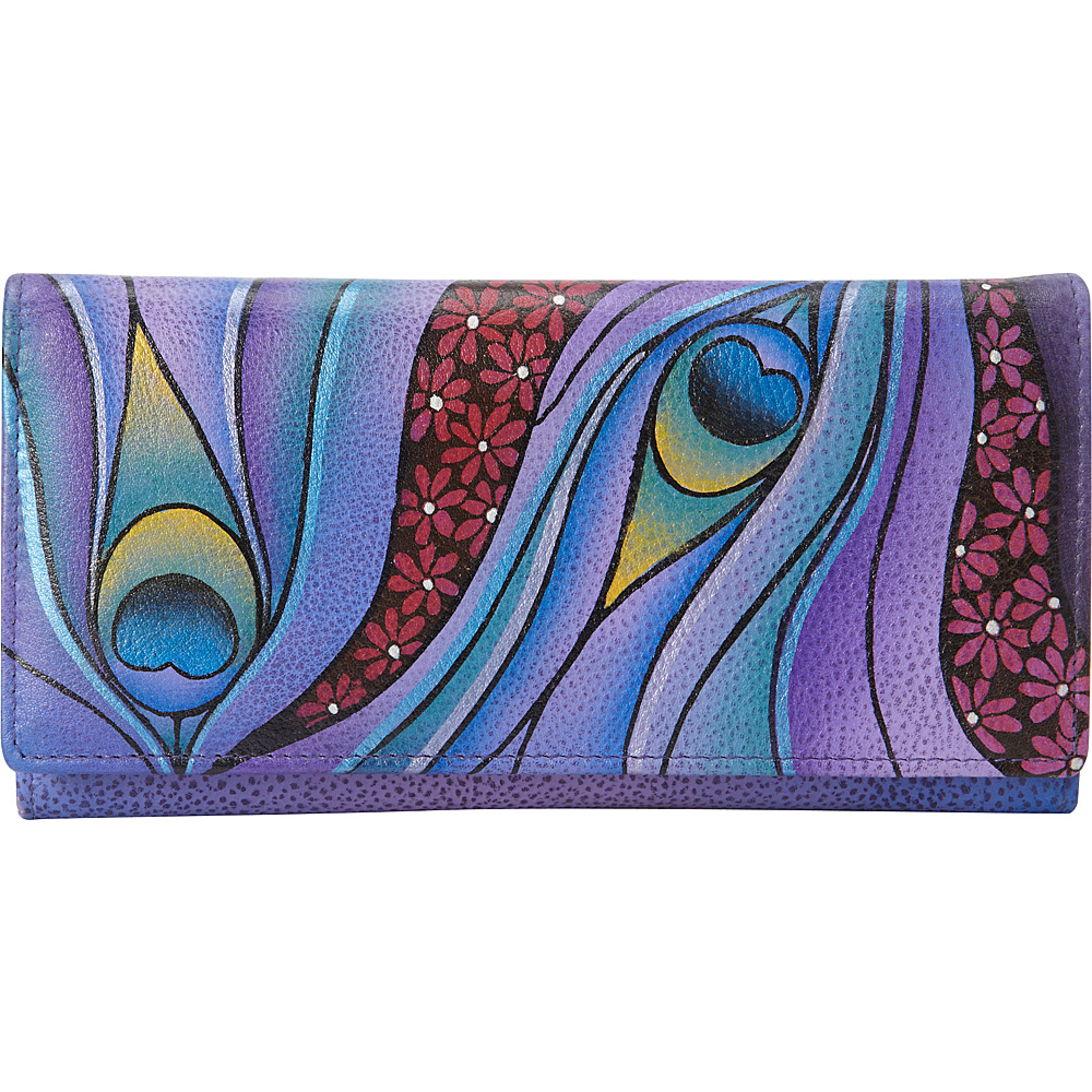 ANNA by Anuschka Hand Painted Checkbook wallet Clutch Dreamy Peacock ANNA by Anuschka Women s Wallets