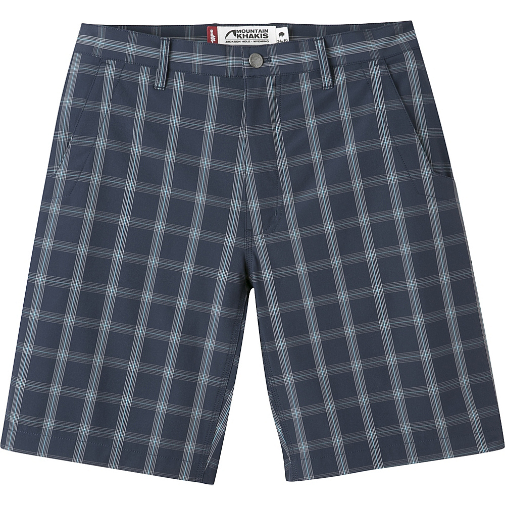 Mountain Khakis Mulligan Shorts 35 - 10in - Navy Plaid - 30W 10in - Mountain Khakis Mens Apparel - Apparel & Footwear, Men's Apparel