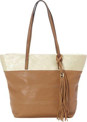 Sondra Roberts Bahamas Metallic Trim Shopper Camel - Sondra Roberts Manmade Handbags