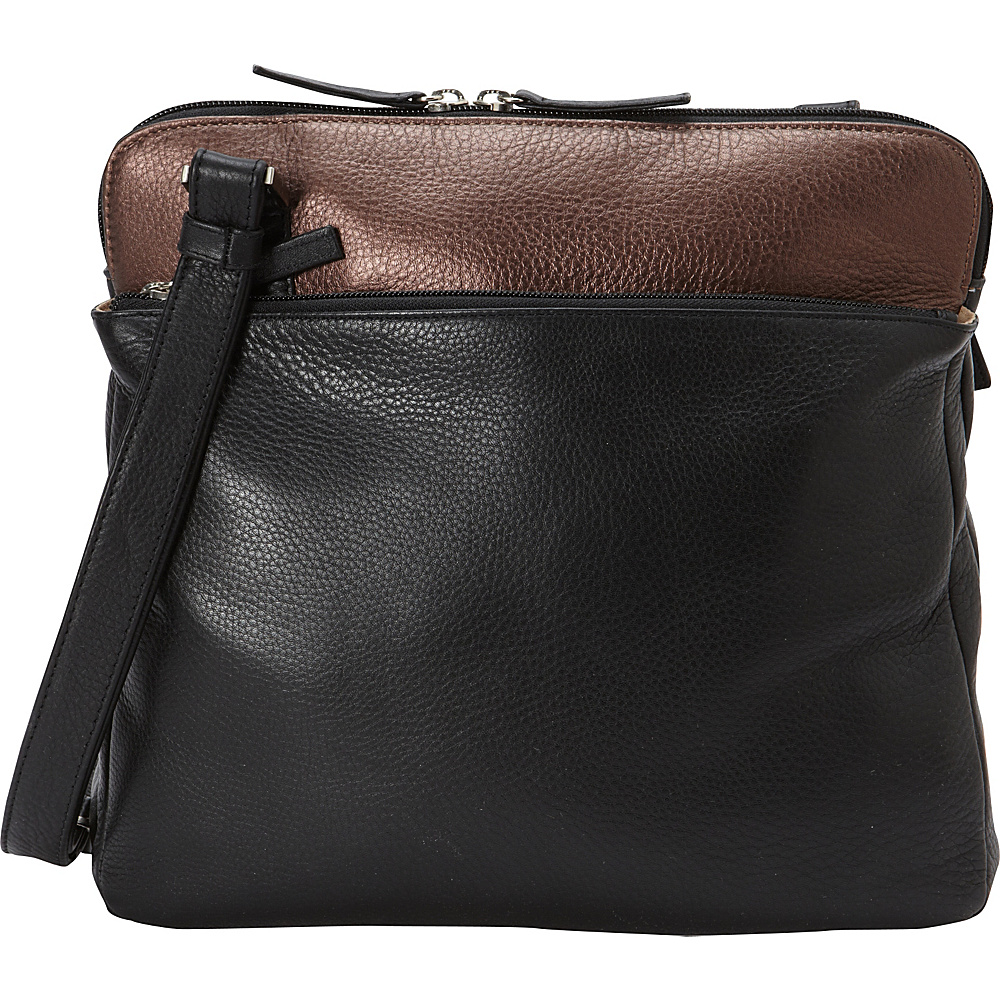 Derek Alexander Med Ns 3 Comp Shoulder Tablet Friendly Black/Bronze - Derek Alexander Leather Handbags - Handbags, Leather Handbags