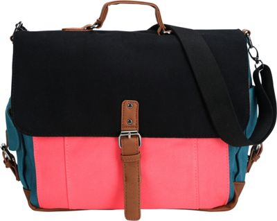 Something Strong Tri-Color Messenger bag with Laptop Compartment Black/Pink/Blue - Something Strong Messenger Bags