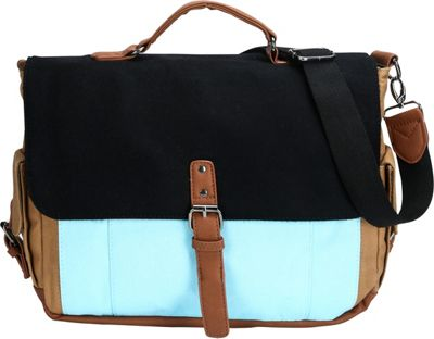 Something Strong Tri-Color Messenger bag with Laptop Compartment Black/Blue/Brown - Something Strong Messenger Bags