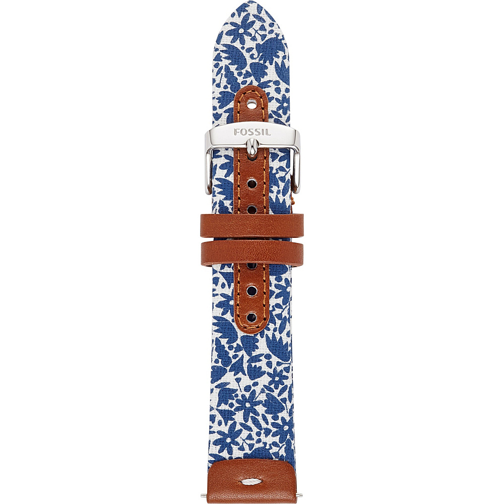 Fossil Leather and Canvas 20mm Watch Strap Brown/Blue - Fossil Watches - Fashion Accessories, Watches