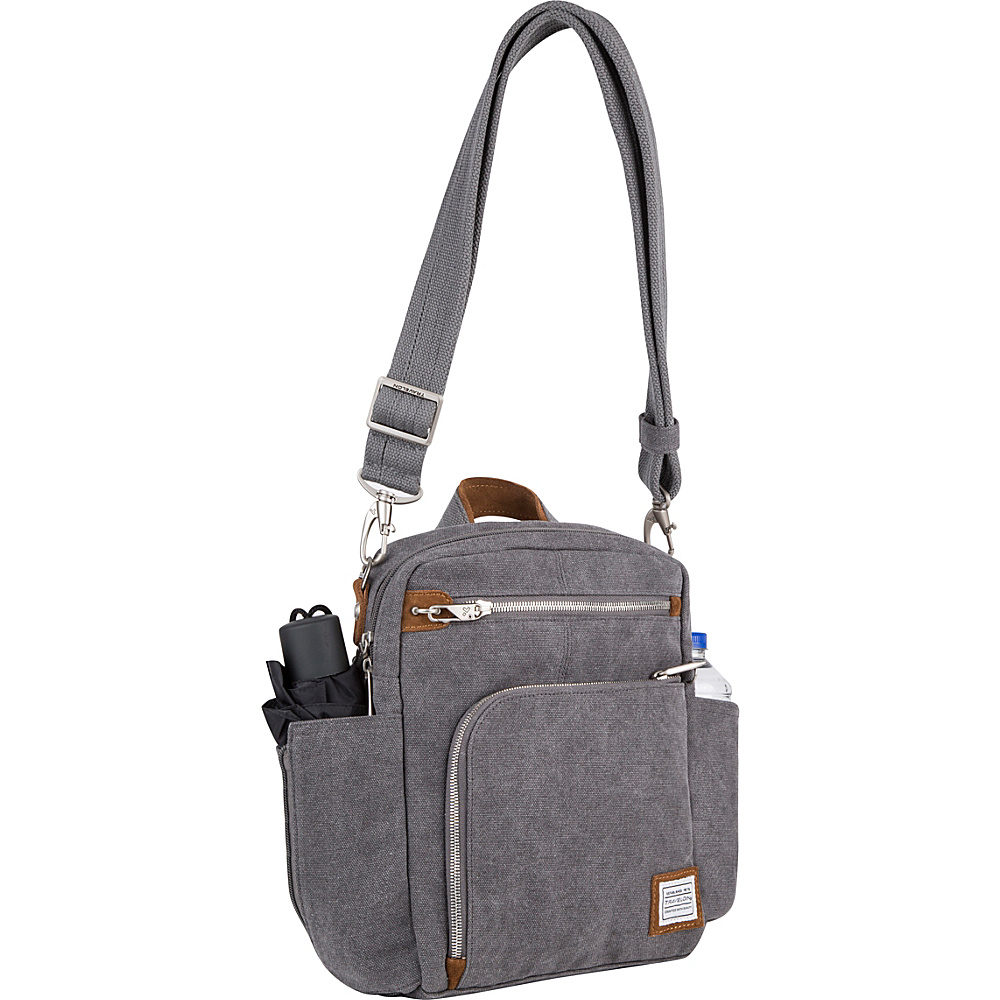 Travelon Anti-Theft Heritage Tour Bag Pewter - Exclusive Color - Travelon Fabric Handbags - Handbags, Fabric Handbags
