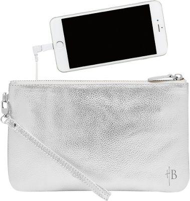 HButler The Mighty Purse Phone Charging Wristlet Metallic Silver - HButler Leather Handbags