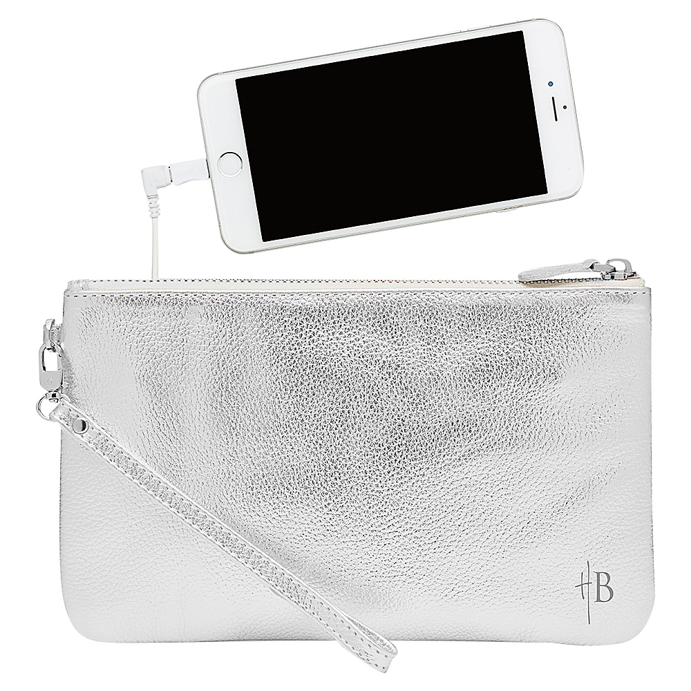 HButler The Mighty Purse Phone Charging Wristlet Metallic Silver HButler Leather Handbags
