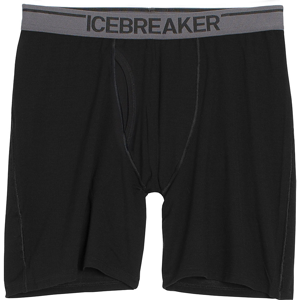 Icebreaker Mens Anatomica Long Boxer with Fly XL - Black - Icebreaker Mens Apparel - Apparel & Footwear, Men's Apparel