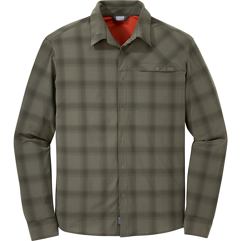 Outdoor Research Mens Astroman Long Sleeve Shirt S - Fatigue Plaid - Outdoor Research Mens Apparel - Apparel & Footwear, Men's Apparel
