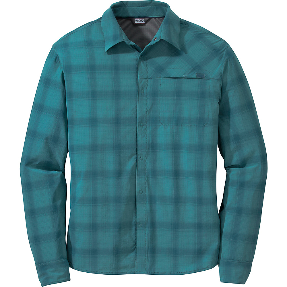 Outdoor Research Mens Astroman Long Sleeve Shirt M - Washed Peacock Plaid - Outdoor Research Mens Apparel - Apparel & Footwear, Men's Apparel