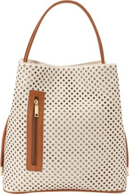 Samoe Shopper Convertible Handbag Seashell Laser Cut/ Luggage Handle SH - Samoe Manmade Handbags