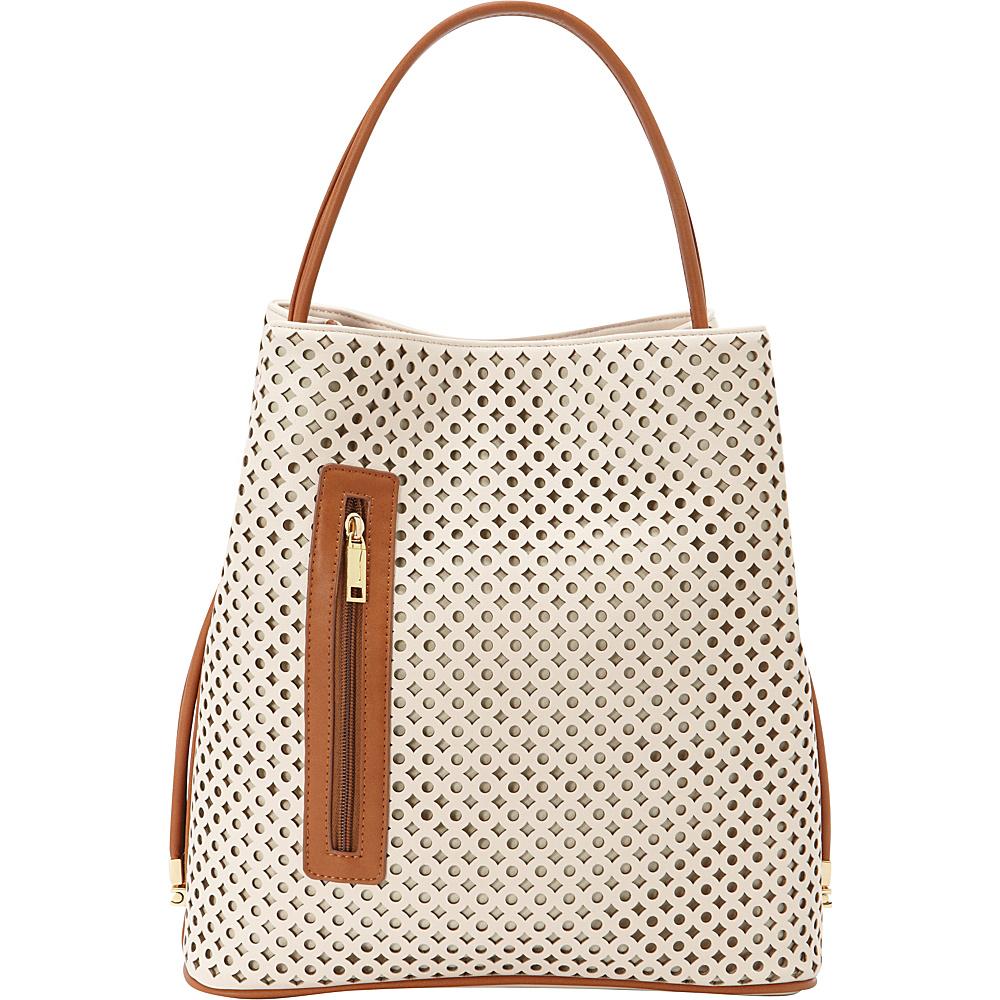 Samoe Shopper Convertible Handbag Seashell Laser Cut Luggage Handle SH Samoe Manmade Handbags