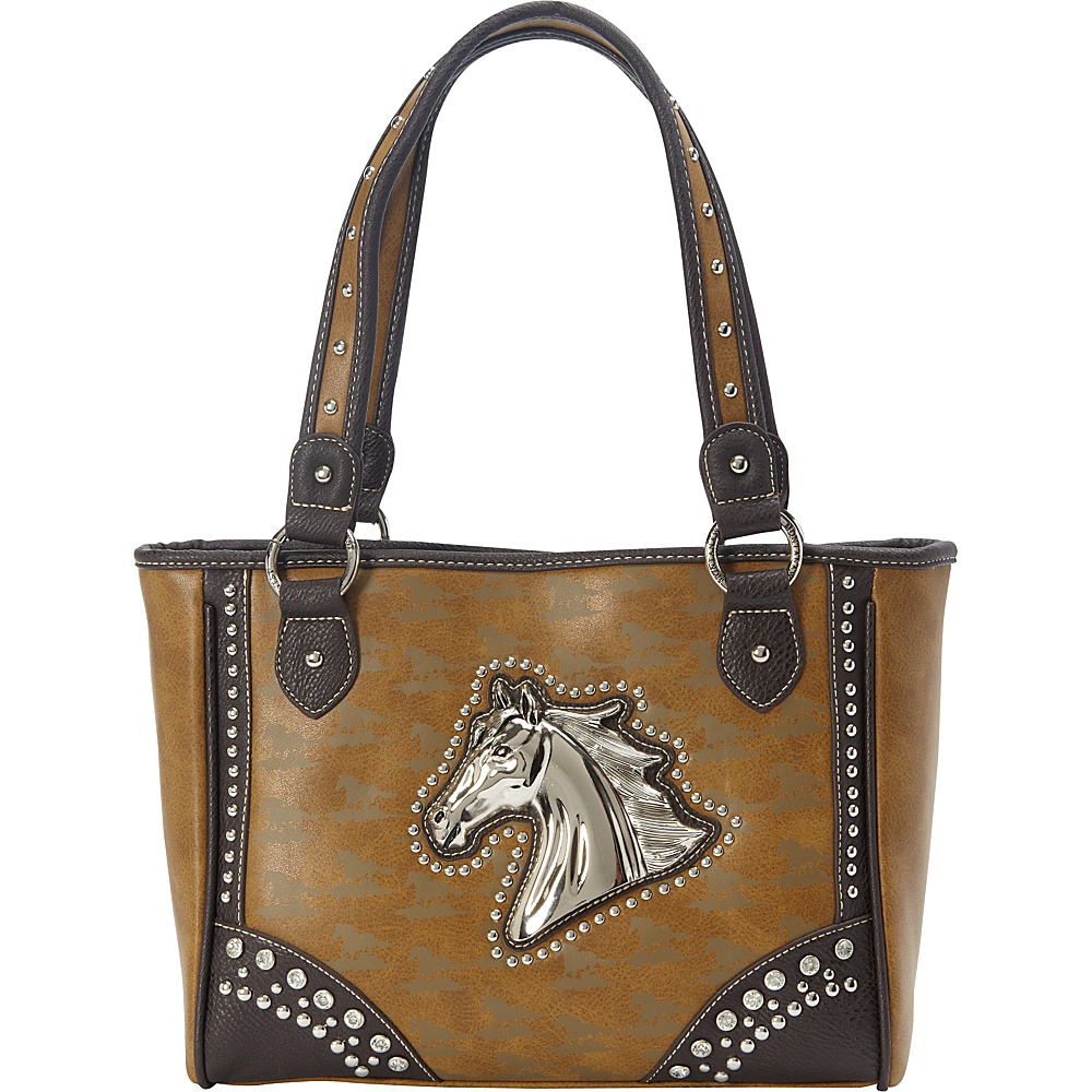 Montana West Horse Collection Tote Khaki - Montana West Manmade Handbags