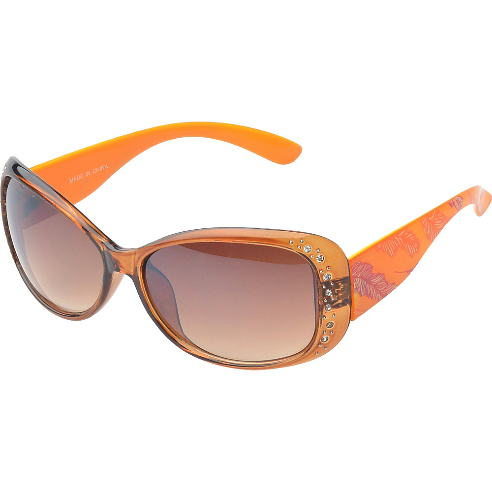 SW Global Eyewear Amelia Rhinestone Studded Oval Fashion Sunglasses Orange - SW Global Sunglasses - Fashion Accessories, Sunglasses