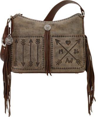 American West Cross My Heart Zip Top Shoulder Bag Distressed Charcoal - American West Leather Handbags