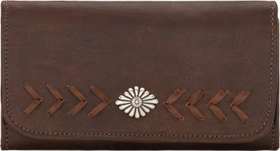 American West Mohave Canyon Ladies Tri-Fold Clutch Wallet Chestnut Brown - American West Women's Wallets