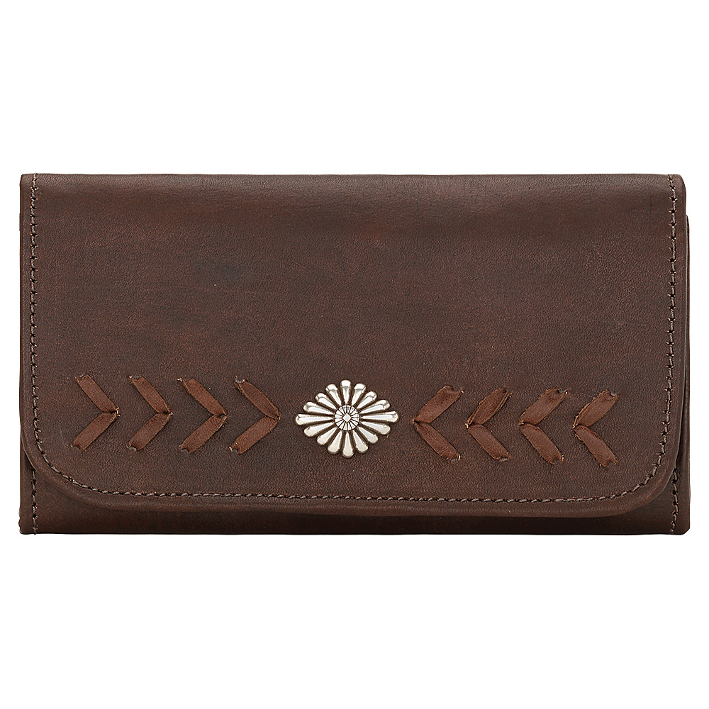 American West Mohave Canyon Ladies Tri Fold Clutch Wallet Chestnut Brown American West Women s Wallets