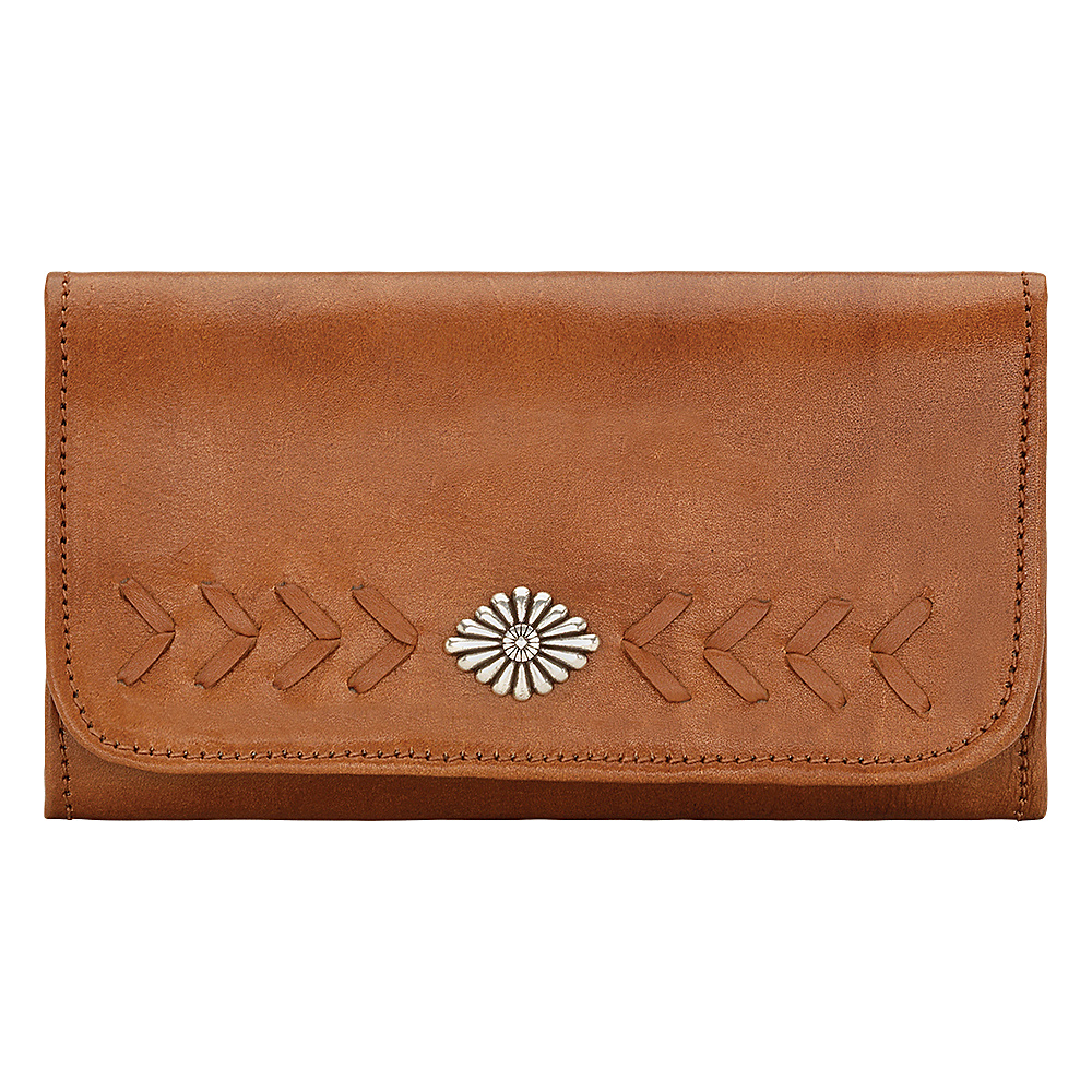 American West Mohave Canyon Ladies Tri Fold Clutch Wallet Golden Tan American West Women s Wallets