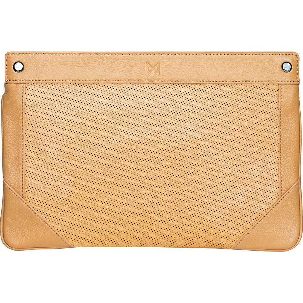 MOFE Lacuna Clutch Tan Gunmetal Hardware MOFE Leather Handbags