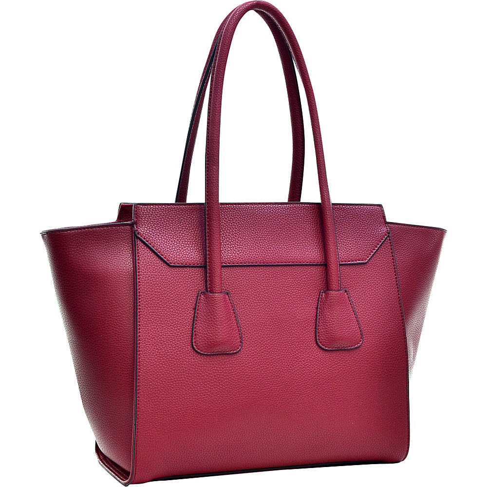 Dasein Faux Leather Winged Satchel Burgundy Red - Dasein Manmade Handbags - Handbags, Manmade Handbags