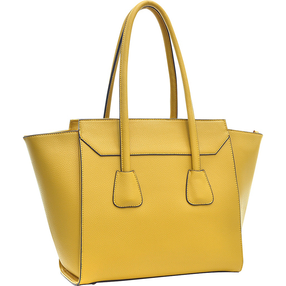 Dasein Faux Leather Winged Satchel Yellow - Dasein Manmade Handbags - Handbags, Manmade Handbags
