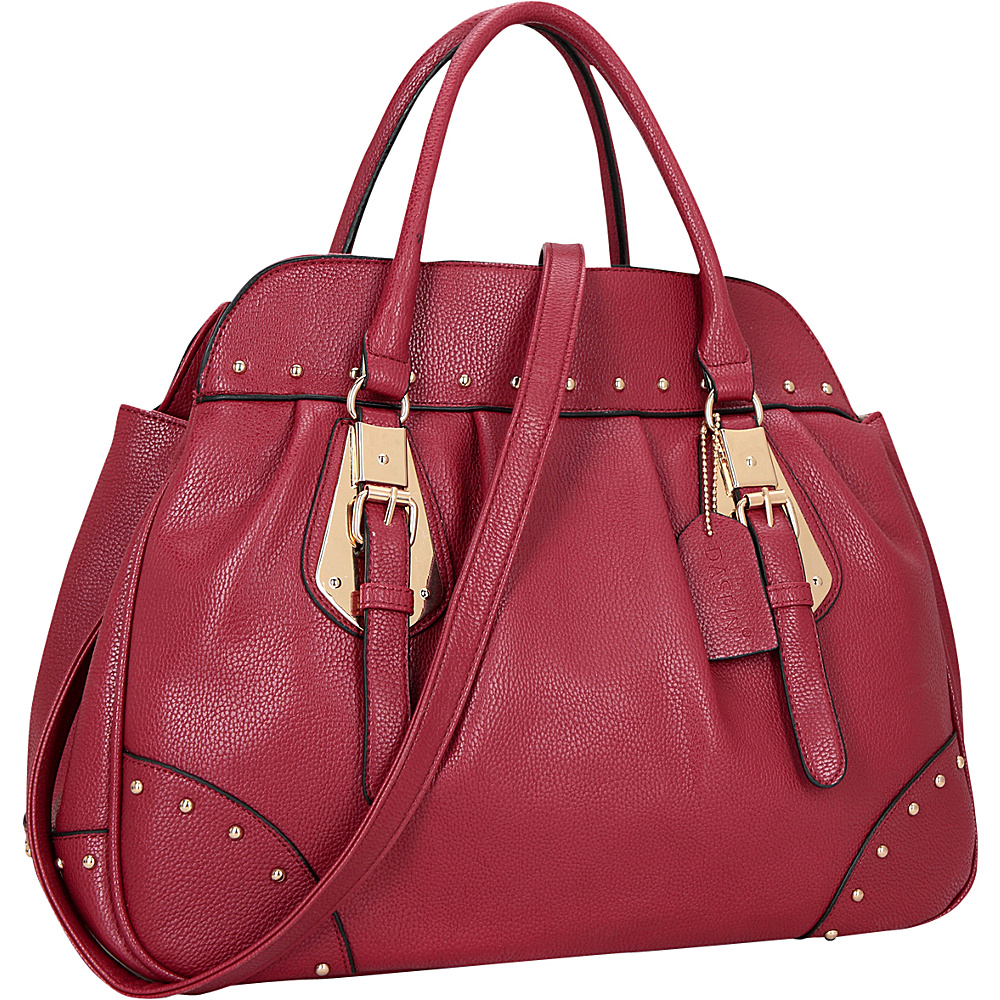 Dasein Large Studded Faux Leather Satchel Burgundy - Dasein Manmade Handbags - Handbags, Manmade Handbags