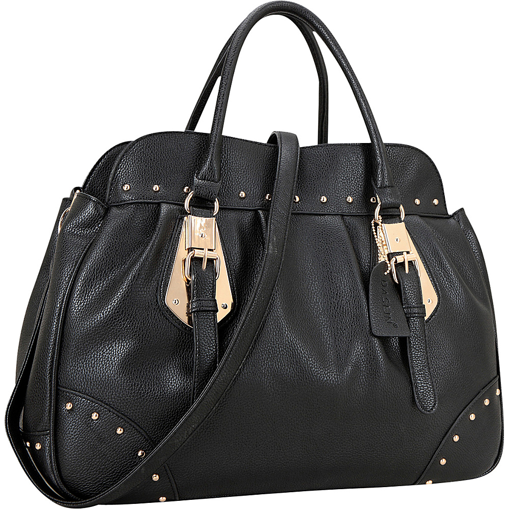 Dasein Large Studded Faux Leather Satchel Black - Dasein Manmade Handbags - Handbags, Manmade Handbags