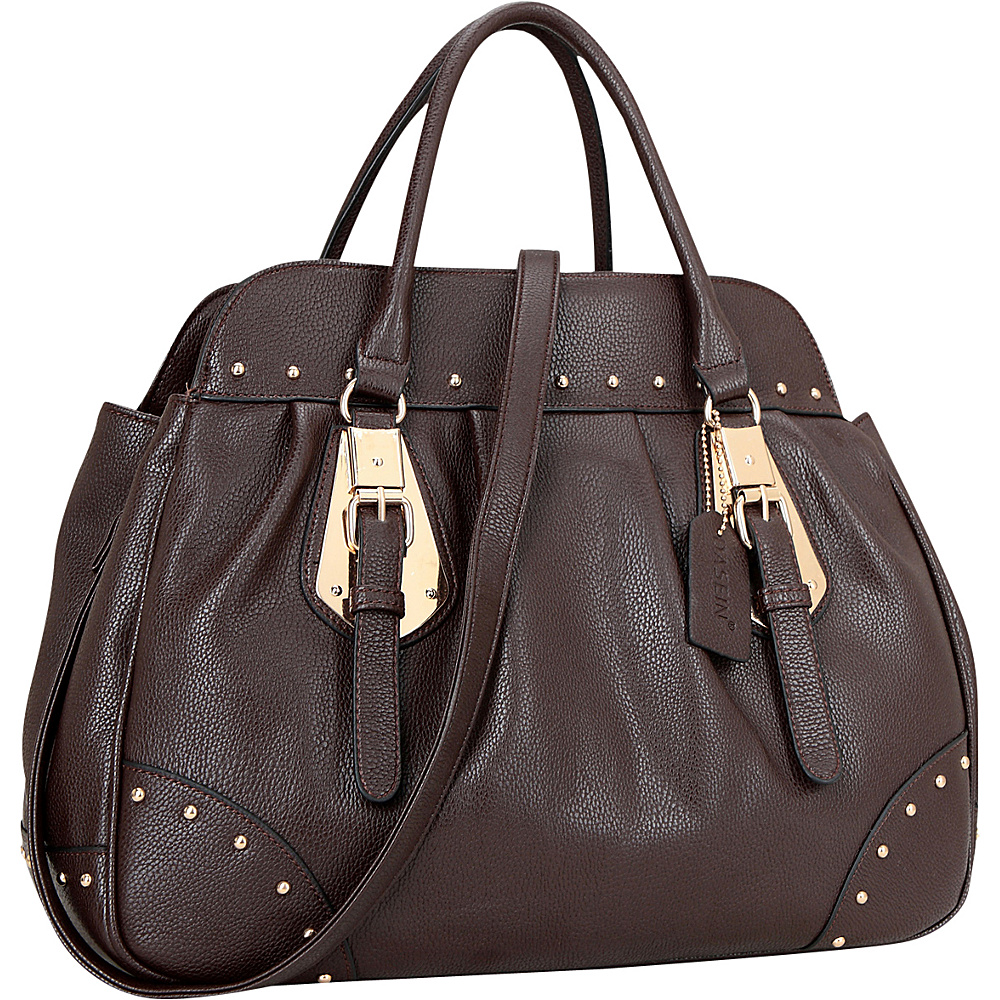 Dasein Large Studded Faux Leather Satchel Coffee - Dasein Manmade Handbags - Handbags, Manmade Handbags
