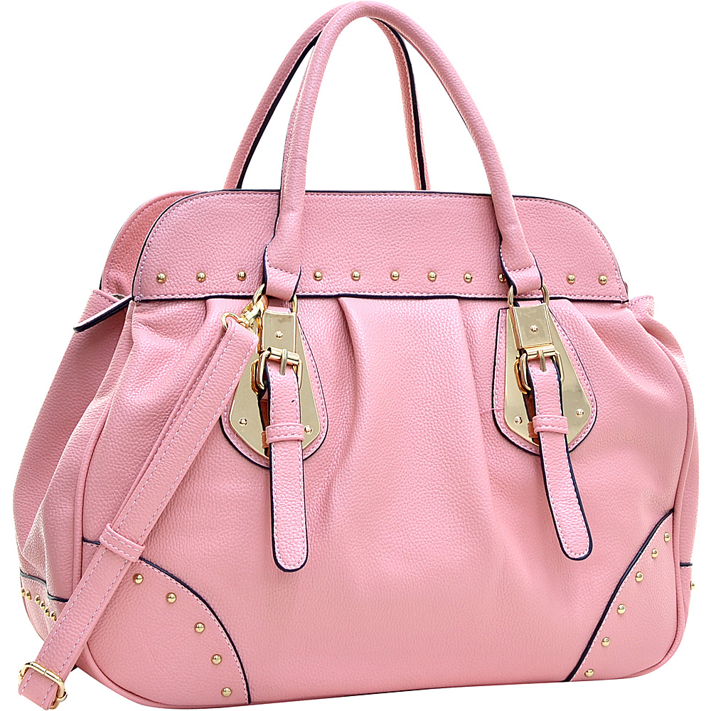 Dasein Large Studded Faux Leather Satchel Light Pink - Dasein Manmade Handbags - Handbags, Manmade Handbags