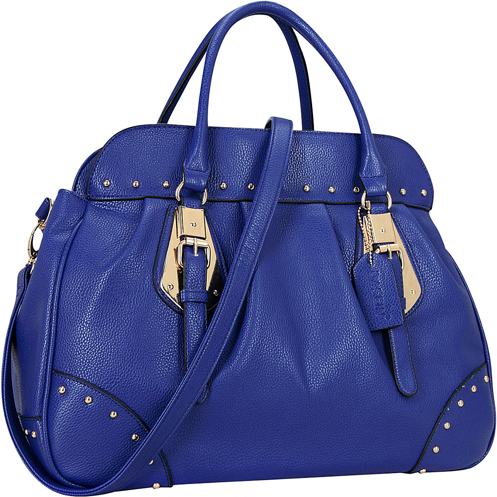 Dasein Large Studded Faux Leather Satchel Royal Blue - Dasein Manmade Handbags - Handbags, Manmade Handbags