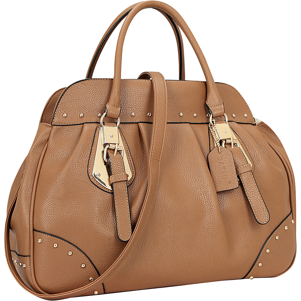 Dasein Large Studded Faux Leather Satchel Tan - Dasein Manmade Handbags - Handbags, Manmade Handbags