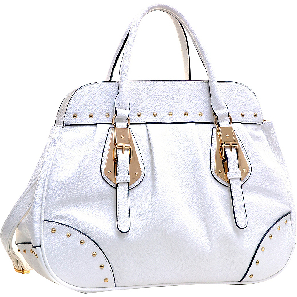 Dasein Large Studded Faux Leather Satchel White - Dasein Manmade Handbags - Handbags, Manmade Handbags