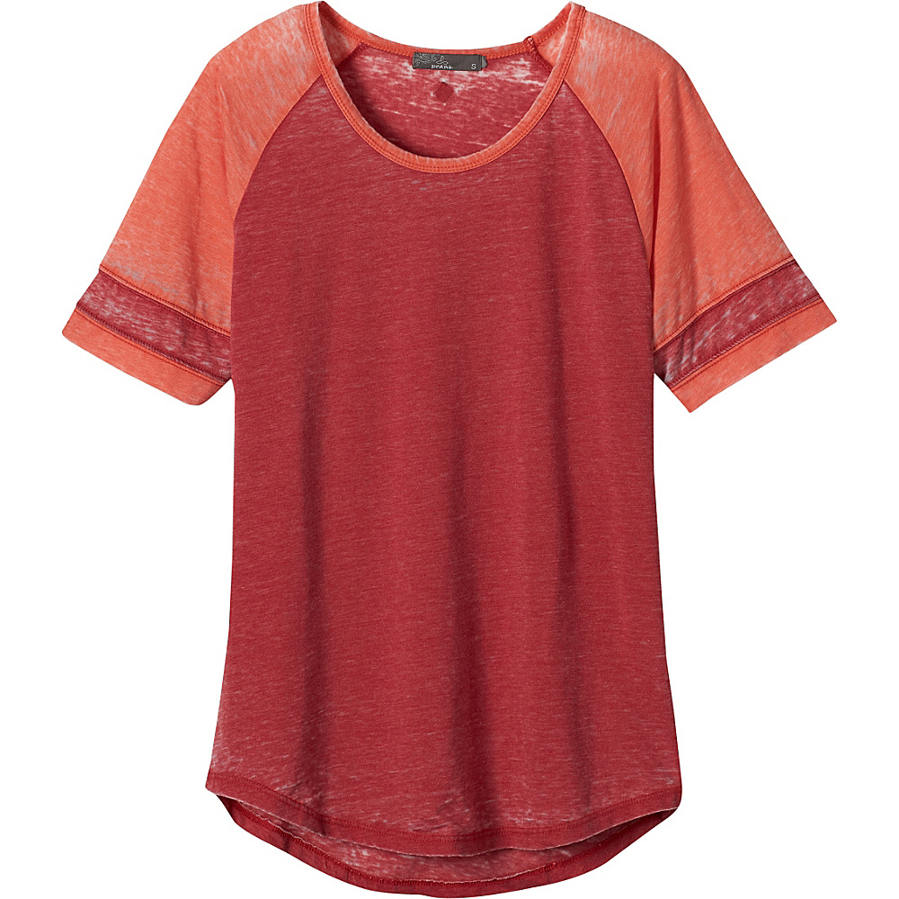 PrAna Cleo Tee S - Sunwashed Red - PrAna Womens Apparel - Apparel & Footwear, Women's Apparel