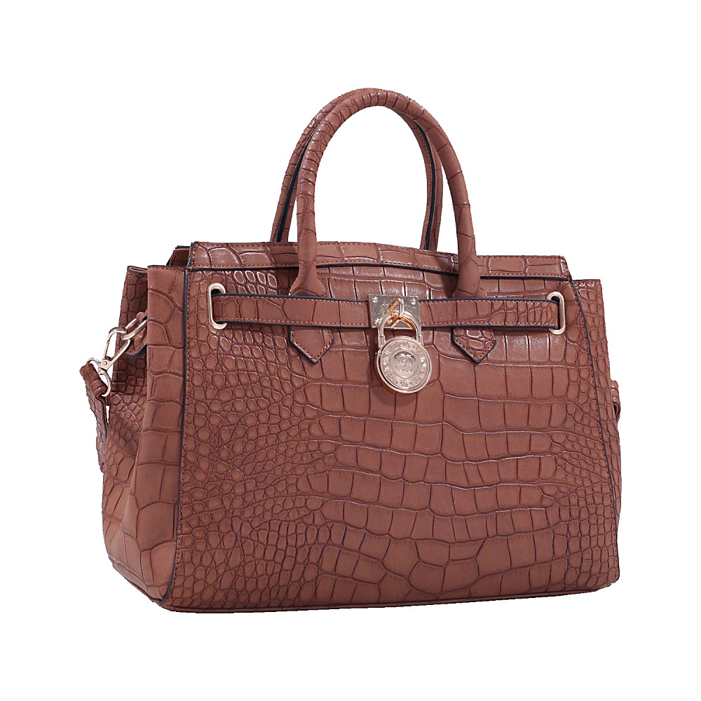 MKF Collection Bedelia Croco Satchel Brown MKF Collection Manmade Handbags
