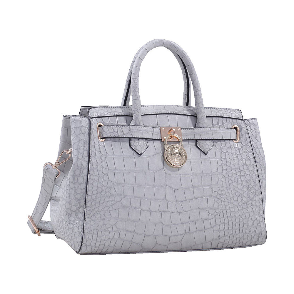 MKF Collection Bedelia Croco Satchel Light Grey MKF Collection Manmade Handbags