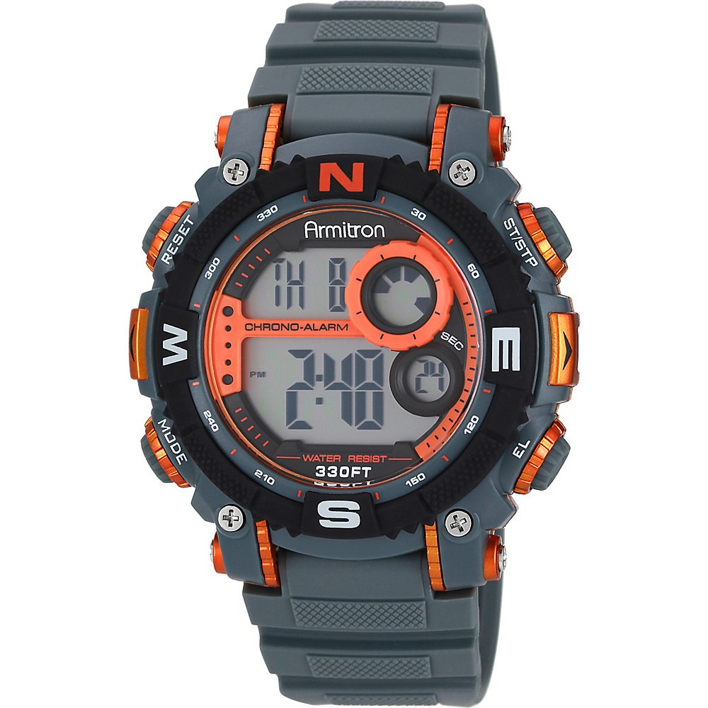 Armitron Sport Mens Digital Chronograph Resin Strap Watch Orange Armitron Watches