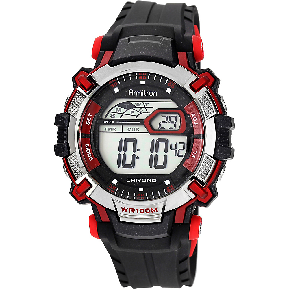 Armitron Sport Mens Digital Chronograph Resin Strap Watch Red Armitron Watches