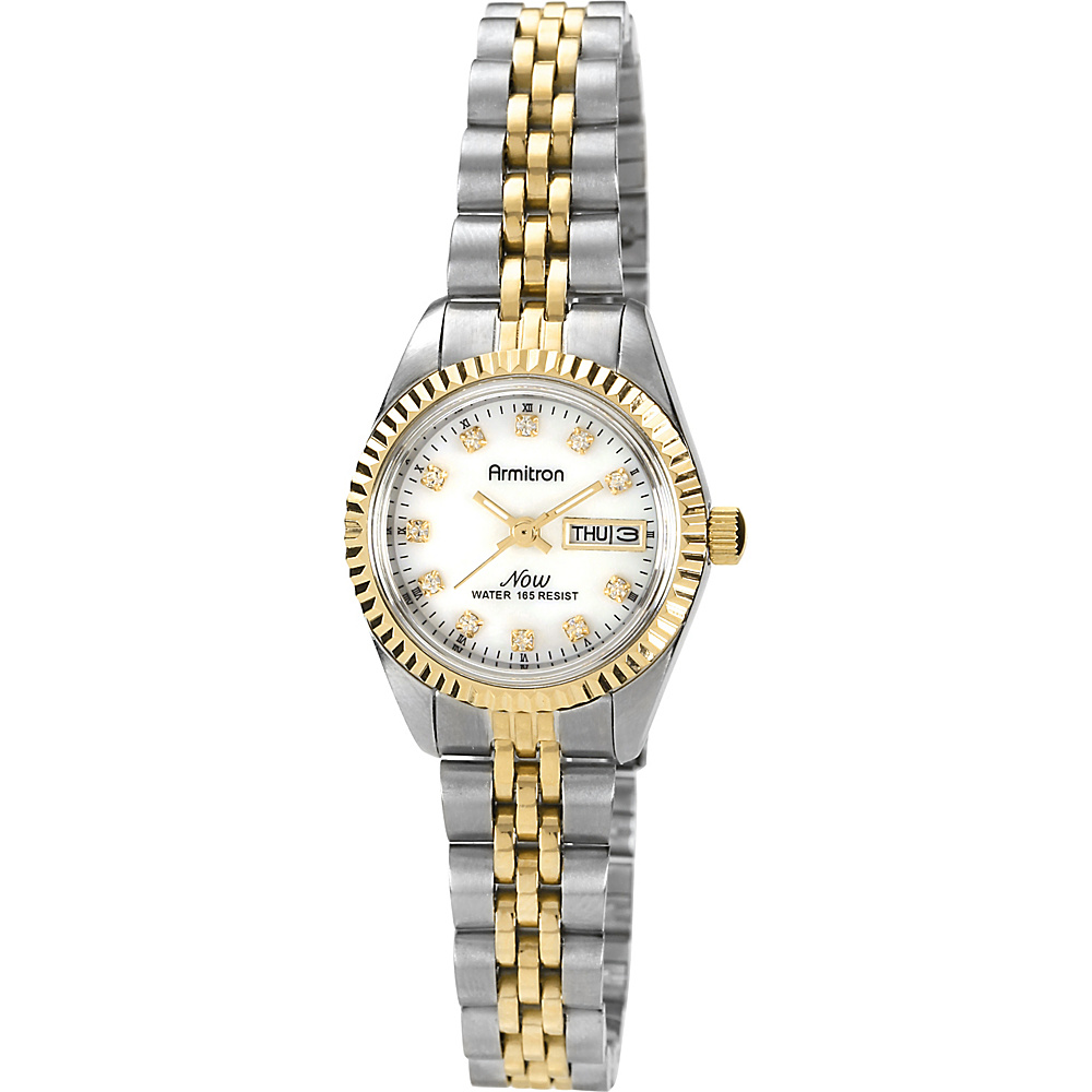 Armitron Womens Swarovski Crystal Accented Two Tone Bracelet Watch Two Toned Armitron Watches
